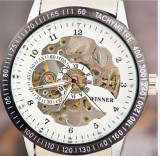 CEAS LUXURY WINNER MECANIC SKELETON FULL AUTOMATIC TACHYMETRE BRATARA METALICA EXCLUSIVE WHITE, BLACK | PESTE 2500 CALIFICATIVE POZITIVE, Lux - elegant, Mecanic-Automatic, Inox
