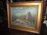 Peisaj George Ovida Oradea-Piatra Craiului 1958, ulei pe carton.