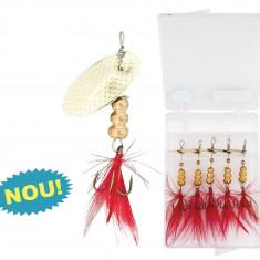 Set 5 lingurite + cutie de transport #SF Baracuda - Momeala artificiala Pescuit, Lingurite rotative