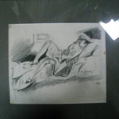 TANARA PE SOFA, DESEN IN CREION- AUREL JIQUIDI - Pictor roman