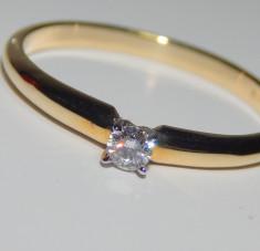Inel logodna diamant 0,09ct aur galben 14k foto