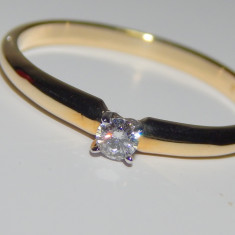 Inel logodna  diamant 0,09ct  aur galben  14k
