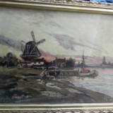 TABLOU- RICA VIANU- ULEI PE PANZA - PEISAJ CU MOARA - Pictor roman