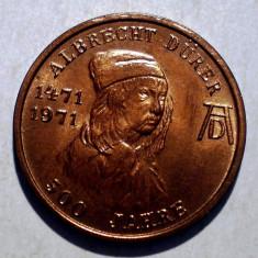 1.174 JETON ALBRECHT DURER 1471 1971 500 ANI IEPURE NURNBERG 18mm - Jetoane numismatica