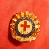 Insigna -A 23-a Conferinta Internationala de Cruce Rosie 1977 Bucuresti , h= 3 cm