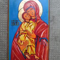 Icoana pictata pe lemn, Sfanta Maria cu Pruncul - Icoana pe sticla