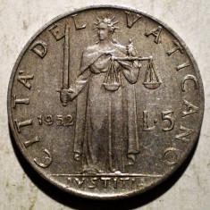 1.136 VATICAN PAPA PIUS XII JUSTITIA 5 LIRE 1952, Europa, Aluminiu