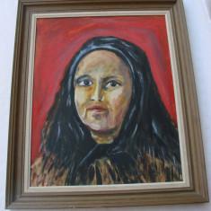 Frumos portret pe carton semnat Eklund, Portrete, Ulei, Altul