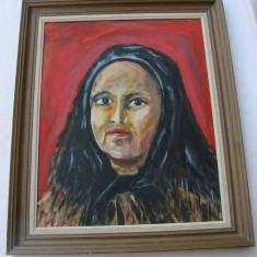 Frumos portret pe carton semnat Eklund - Pictor strain, Portrete, Ulei, Altul