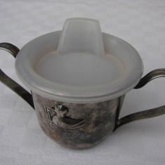 Cana din alpaca argintata cu strecurator din plastic