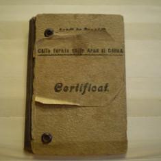 CERTIFICAT [ ABONAMENT ] -CAILE FERATE UNITE CENAD - ARAD, 1922-VEZI EXPLICATII - Diploma/Certificat