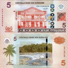 SURINAME 5 dollars 2010 UNC!!! - bancnota america