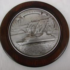 Placheta norvegiana din zinc pe suport de lemn - Metal/Fonta, Ornamentale