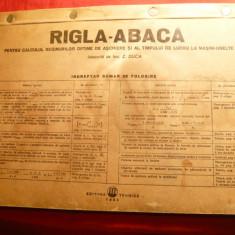 Rigla Abaca -Pt.calcul regim optim de aschiere si timp lucru la Masini-Unelte - de ing. Z.Duca -Ed.Tehnica 1955