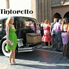 Tintoretto SPANIA, Rochie 100 % MATASE, model superb, material VOAL. Marimea 42 (merge 40/42). Produse NOI Originale cu Etichete. REDUSE! OUTLET Arad. - Rochie de club, Culoare: Din imagine, 3/4, Cu bretele