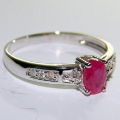 Inel aur alb 14k, RUBIN NATURAL de 0, 65ct si diamante secundare de 0.12ct - Inel diamant, 46 - 56