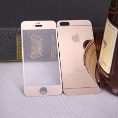 Iphone 5/5s - Folie Sticla Securizata Fata + Spate Gold/Silver cu Logo - Folie de protectie Apple, Colorata