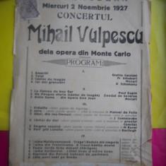 AFIS VECHI -SALA,, MODERN,, MIERCURI 2 NOV 1927 -CONCERTUL MIHAIL VULPESCU, DE LA OPERA DIN MONTE CARLO / D= 330 / 210 MM