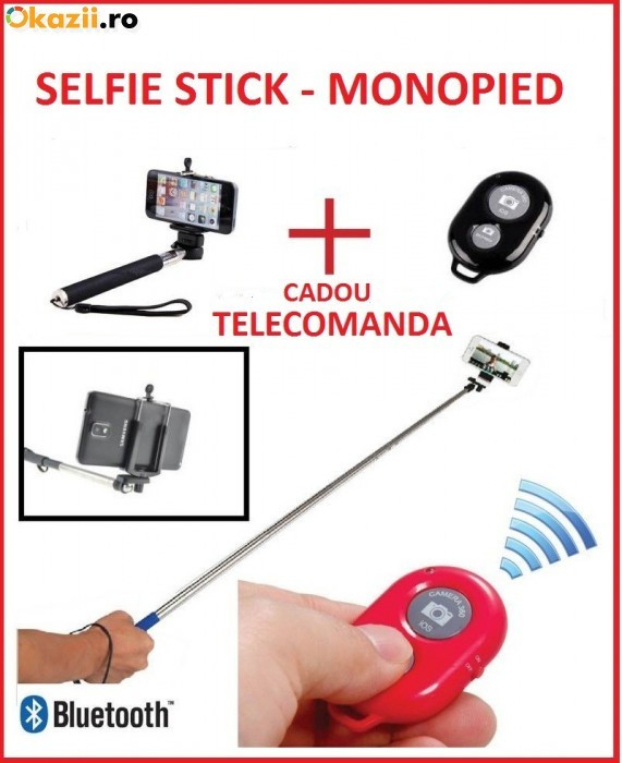 Monopod selfie stick bluetooth cu telecomanda wireless , bat foto selfie baston selfie (wireless mobile phone monopod) foto mare