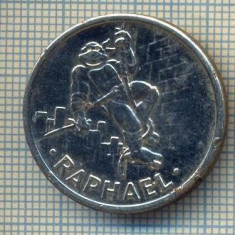 JETON 19 PENTRU COLECTIONARI - RAPHAEL - COWABUNGA( FORMA DE SALUT) - DIN SERIALUL TESTOASELE NINJA -STAREA CARE SE VEDE - Jetoane numismatica