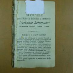 Vrednicia sateanului societate economie Untesti Tutova statute 1904 - Carte veche