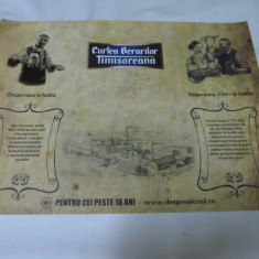 "Reclama comerciala   "" CURTEA BERARILOR TIMISOREANA "", Printata, Romania de la 1950"
