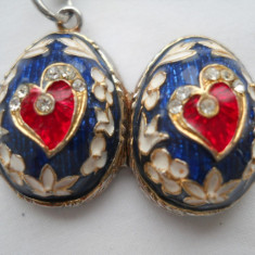 Spectaculos Medalion cu Email cu deschidere pt 2 fotografii Finut Mignon Vintage