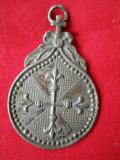 Spectaculos si Vechi Medalion Pandativ Religios Rar Cruce si Flori Lis de Efect