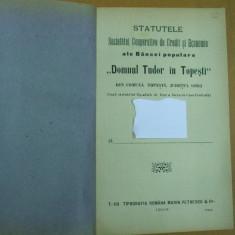 Domnul Tudor in Topesti banca populara Topesti Gorj statute Targu Jiu 1904 - Carte veche