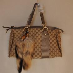 Geanta Gucci cu coada pufoasa de vulpe - Geanta Dama Gucci, Maro