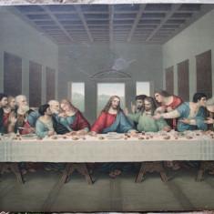 Cina cea de Taina - Litografie veche dupa Leonardo da Vinci , dimensiuni mari