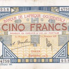FRENCH WEST AFRICA 5 francs 1932 DAKAR VF-!!!