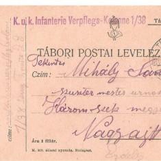 CPI (B4712) TABORI POSTAI LEVELEZOLAP, CARTE POSTALA MILITARA, KUK, WW1, UNGARIA, AUSTRIA, AUSTRO-UNGARIA, 1.oct.1915, MILITAR, RAZBOI, ARMATA - Carte Postala Transilvania 1904-1918, Circulata, Printata