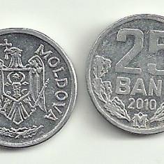 MOLDOVA 25 BANI 2010, XF++ - a UNC [2] livrare in cartonas, Europa, Aluminiu