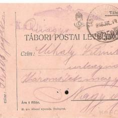 CPI (B4724) TABORI POSTAI LEVELEZOLAP, CARTE POSTALA MILITARA, KUK, WW1, UNGARIA, AUSTRIA, AUSTRO-UNGARIA, 19.iul.1916, MILITAR, RAZBOI, ARMATA - Carte Postala Transilvania 1904-1918, Circulata, Printata