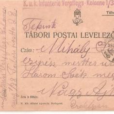 CPI (B4710) TABORI POSTAI LEVELEZOLAP, CARTE POSTALA MILITARA, KUK, WW1, UNGARIA, AUSTRIA, AUSTRO-UNGARIA, 14.dec.1915, MILITAR, RAZBOI, ARMATA - Carte Postala Transilvania 1904-1918, Circulata, Printata