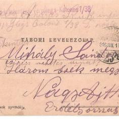 CPI (B4729) TABORI LEVELEZOLAP, CARTE POSTALA MILITARA, KUK, WW1, UNGARIA, AUSTRIA, AUSTRO-UNGARIA, 14.ian.1916, MILITAR, RAZBOI, ARMATA - Carte Postala Transilvania 1904-1918, Circulata, Printata