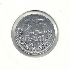 MOLDOVA 25 BANI 2012, a UNC [2] livrare in cartonas, Europa, Aluminiu