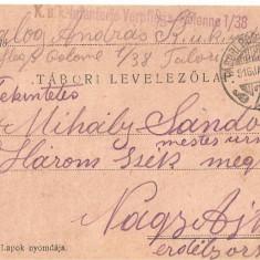 CPI (B4732) TABORI POSTAI LEVELEZOLAP, CARTE POSTALA MILITARA, KUK, WW1, UNGARIA, AUSTRIA, 15.ian.1916, AUSTRO-UNGARIA, MILITAR, RAZBOI, ARMATA - Carte Postala Transilvania 1904-1918, Circulata, Printata