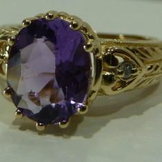 Inel aur 14k cu diamante si amethyst, Culoare: Galben, 46 - 56