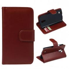 Husa  toc maro brown portcard Samsung Galaxy S4 mini  + folie protectie cadou si cablu date