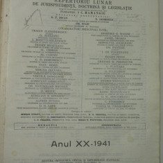 PANDECTELE ROMANE - REPERTORIU LUNAR DE JURISPRUDENTA, DOCTRINA SI LEGISLATIE - ANUL XX 1941 - FONDATOR HAMANGIU - COLECTIV DE EMINENTI JURISTI - RARA - Carte Jurisprudenta