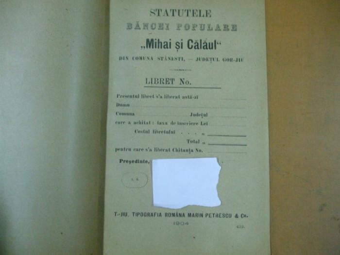Mihai si calaul  banca populara Stanesti Gorj Gorjiu  statute Targu Jiu 1904 Tipografia Marin Petrescu
