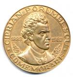 MEDALIE COMEMORARE CIPRIAN PORUMBESCU 1883-1983 SNR SECTIA SUCEAVA ISTORIE MUZICA EFIGII
