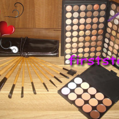 Trusa machiaj profesionala MAC 120 culori set 12 pensule Bobbi Brown Fond de ten - Trusa make up