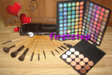 Trusa machiaj profesionala paleta farduri make up MAC 120 culori set 12 pensule Bobbi Brown Fond de ten conceale Cadou sf Valentin Valentine s day, Mac Cosmetics
