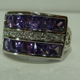 Inel aur alb 14k cu diamante si Amethyst, 46 - 56