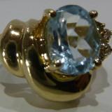 Inel aur 14k cu diamante si aquamarine, Culoare: Galben, 46 - 56