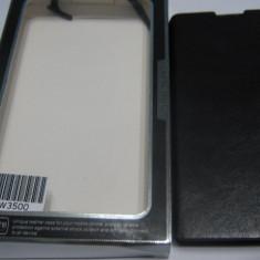 HUSA PHILIPS W3500 + FOLIE CADOU - Husa Telefon Accessorize, Negru, Piele, Cu clapeta