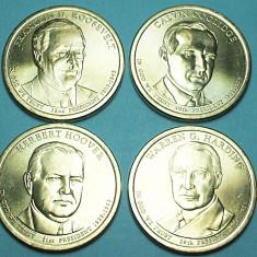 SUA 2014 - SET 4 MONEDE 1 DOLLAR PRESEDINTI AMERICANI - UNC, America de Nord, Cupru (arama)